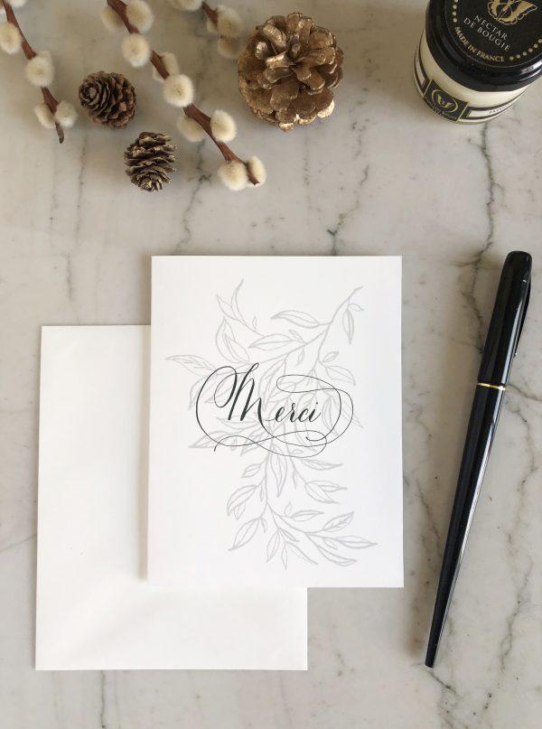 Carte merci sobre et élégante