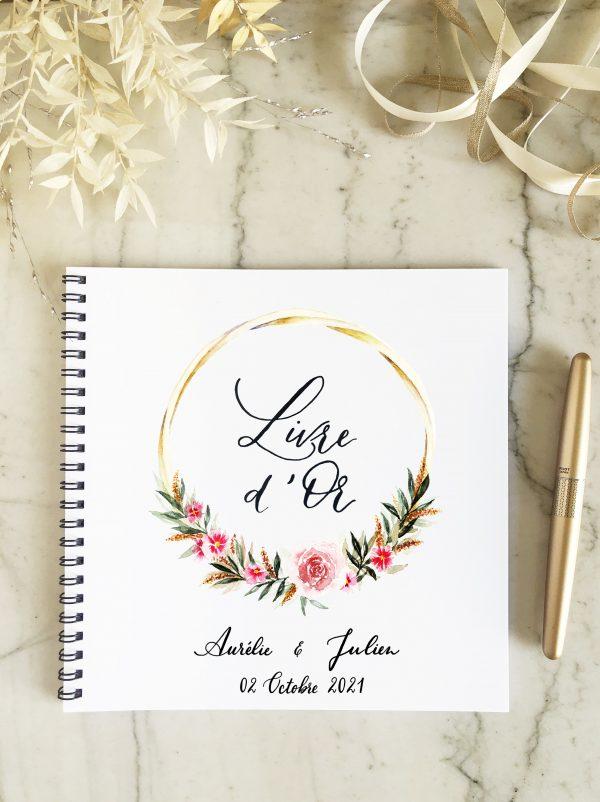 livre d'or personnalisable couronne de roses pour mariage