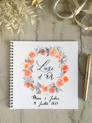 livre d'or couronne de roses pour mariage