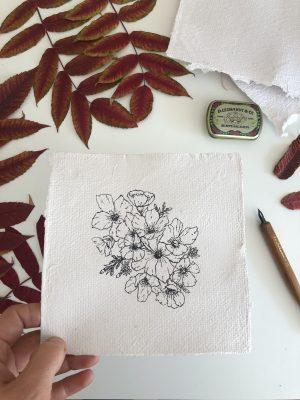 Composition florale sur papier fait-main originale n°2