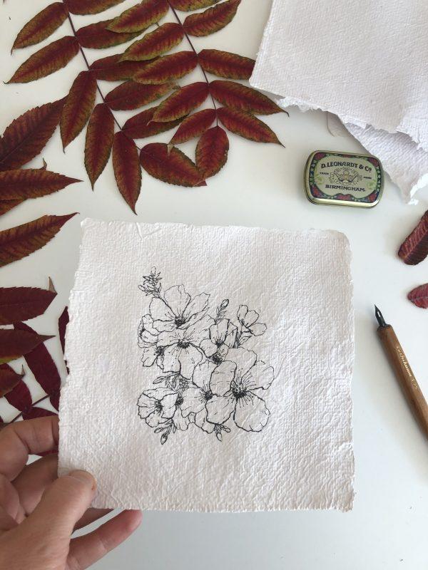 Composition florale sur papier fait-main originale