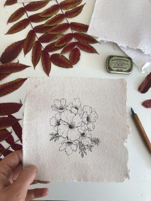 Composition florale sur papier fait-main originale n°4