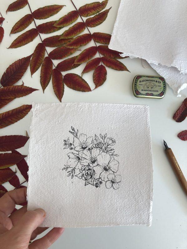 Composition florale sur papier fait-main originale n°3