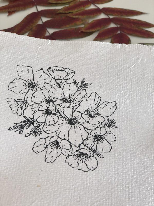 illustration botanique sur papier fait-main N°2