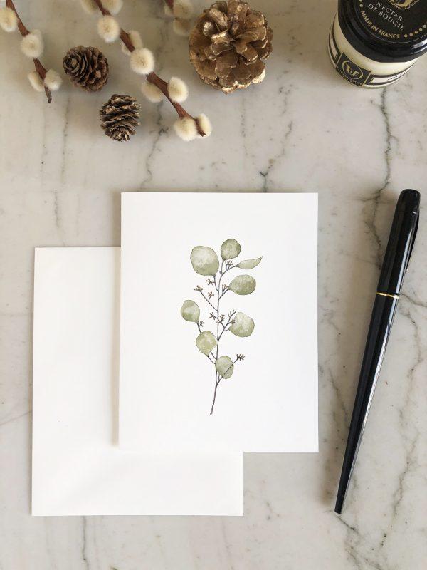 carte aquarelle eucalyptus vert d'eau