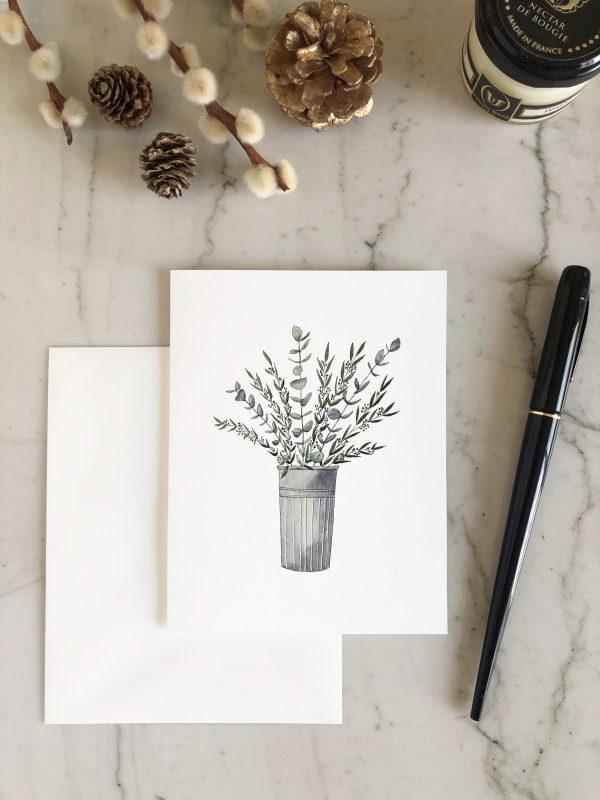carte aquarelle bouquet eucalyptus