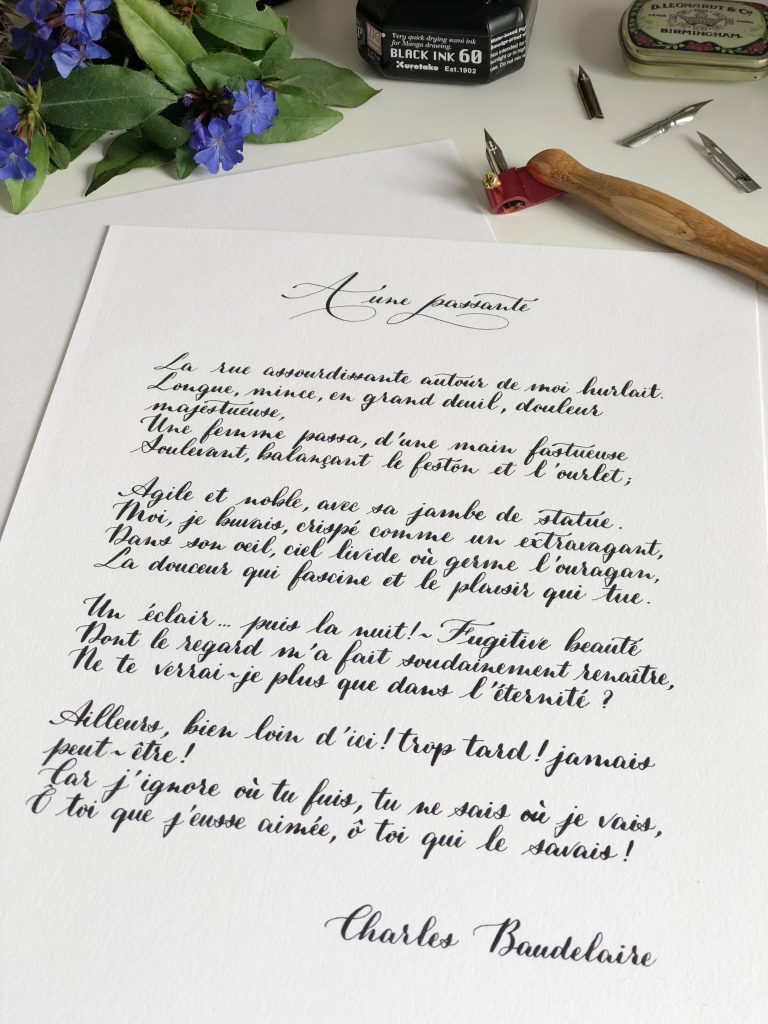 Calligraphie poème Charles Baudelaire